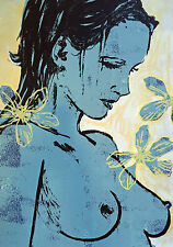 "New DAVID BROMLEY Boutique Edition Screenprint ""Romy with Flowers"""