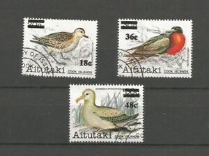 Aitutaki Cook Islands 1983 Birds surcharges, used.  SG447, 451, 457