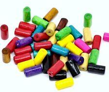 Pack de 80 Perles Tube en Bois-mélange couleurs lumineuses - 12 x 6 mm........... B123 *