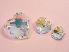 Genuine SWAROVSKI Crystal HEART PENDANT 14MM or 18MM ~Clear AB / V Lt Purple~