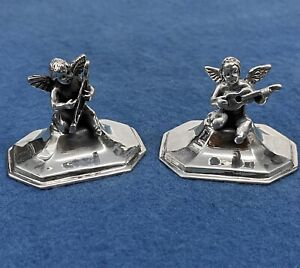2 Sterling Silver Place Card / Menu Holders • Cherubs Playing Musical Instrument