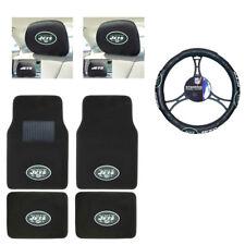 NFL New York Jets Car Truck Floor Mats Headrest Covers Steering Wheel Cover Set