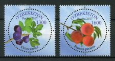 Uzbekistan 2017 MNH Fruits Peaches Figs 2v Set Round Flowers Plants Stamps