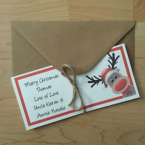 Personalised Vintage/retro Christmas Money/Gift Voucher Wallet/Envelope Reindeer