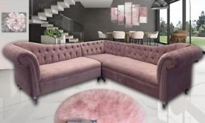 Luxury Dream Chesterfield Corner Sofa Set in Plush Velvet Fabric Premium Quality
