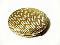 Estee Lauder Gold & Silver Zigzag Vintage Compact - French Porcelain - Near Mint