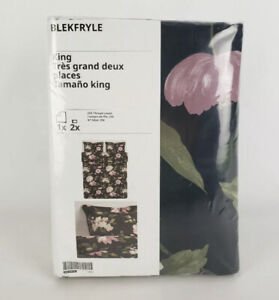 Ikea Blekfryle King Duvet Cover w/2 Pillowcases Bed Set Floral Black Pink New