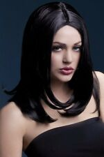 Smiffys Fever Long Layered Black Sophia Wig with Centre Part 17 inch SK076 CC 08