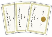 Certificate of Completion Gold Filigree Landscape A5 Pack of 30