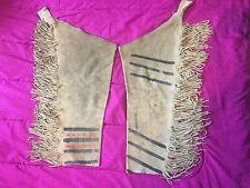 Old Vintage Native American Pair of Red and Black Striped Fringe Leggings