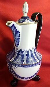 "BOMBAY ""Grace"" 13.5"" Cobalt Blue & White Platinum Rims footed Coffee/Tea Pot"