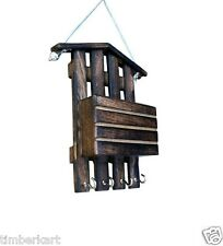 Wooden LETTER RACK Hut + KEY HOLDER Hanger WALL Hanging Decor Carved Handicraft