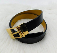 Gucci Mens Reversible Leather Belt Black Tan Gold Buckle 85/34