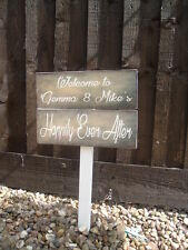 Personalised Wedding happily ever Sign on a post Vintage Bride & Grooms names