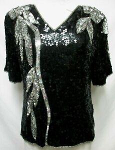 Royal Feelings Vintage sequin black & silver Top Blouse Size Sz Large Lg L