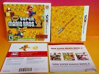 New Super Mario Bros. 2 Nintendo 3DS Case, Cover Art, Manual ONLY *NO GAME*