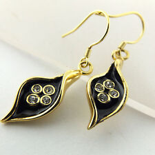 EARRINGS DROPS REAL 18K YELLOW GF GOLD DIAMOND SIMULATED BLACK ENAMEL DESIGN