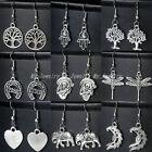 Silver Hook Drop Dangle Earrings Women Lady Girl Jewellery Gifts Vintage Tibetan