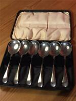Set of 6 Vintage Wear Wite Nickle Silver Plated Soup Spoons in Box