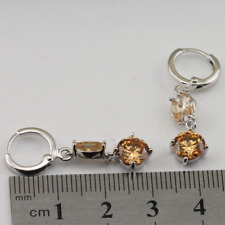 Earrings 9ct White Gold GF Champagne Morganite Drop Gift Mother Summer New b