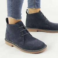 Roamers Ladies Womens 3 Eyelet Suede Leather Classic Desert Boots Pastel Blue