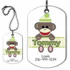 Custom Backpack Luggage Suitcase Identification Tag Sock Monkey Military Dog Tag