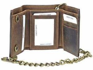 Men's RFID Blocking Brown Leather Motorcycle Trifold Wallet With Bronze Chain