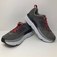 Hoka One One Mens Bondi 6 Running Shoes Gray Red F27218E Lace Up Low Top 9.5