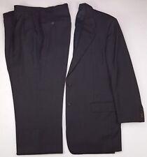 Hickey Freeman 44L Suit Puppytooth Loro Piana Tasmanian Wool 2 Button Gray Black