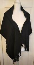 "HERMES Authentic Black 100% Cashmere Scarf Shawl Fringe Embroidered Logo 15""×60"""