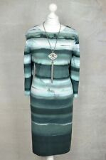 PHASE EIGHT Green striped ombre stretch pencil dress UK 18