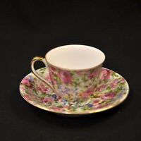 Merit Demitasse Cup & Saucer Occupied Japan 1946-1952 Floral Pink Chintz w/Gold