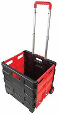 Am-Tech Folding Boot Cart - 25kg Shopping Trolley - Fold Up Wheel Crate S5650