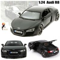1:24 Maisto 2008 Audi R8 Matte Black Series Diecast Model Car Christmas Gift