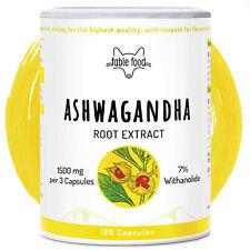 fable food Ashwagandha Extrakt 120 Kapseln 1500mg hochdosiert 7% Withanolide