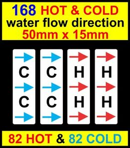 168 HOT & COLD water pipe stickers flow direction decals Warning Safety Labels