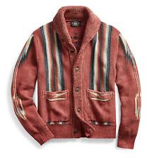 RRL Ralph Lauren Faded Red Southwestern Cotton Linen Shawl Cardigan-MEN- XL