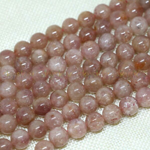 "Natural 4/6/8/10/12mm Pink Strawberry Quartz Crystal Gems Loose Round Beads 15"""