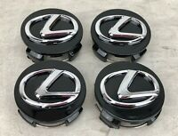 4x WHEEL RIM CENTER HUB CAP GLOSS BLACK CHROME LOGO 62MM FITS LEXUS 2006-2019