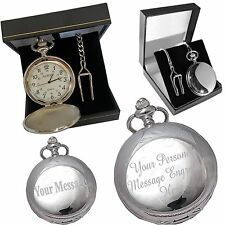 Engraved Pocket Watch 70th-80th Birthday Gift Silver