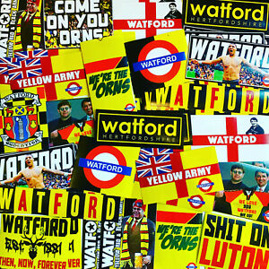 100 x Watford Stickers inspired by Deeney Poster Scarf Badge Flag Hat Vicarage