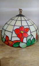 Vintage Leaded Glass Style Ceiling Light Lamp Shade Floral Poppy Design