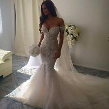Off Shoulder Applique Tulle Wedding Dress Custom Made Long Mermaid Bridal Gown