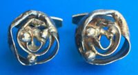 ONE-OF-A-KIND -- VINTAGE MODERNIST ABSTRACT STERLING SILVER CUFFLINKS -- DENMARK