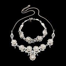 Antique Vintage Deco Sterling Silver Marcasite Lavaliere Necklace & Bracelet Set