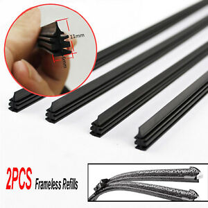 2x High Quality Boneless Frameless Rubber Car Wiper Blade refill Strips 6mm 26''