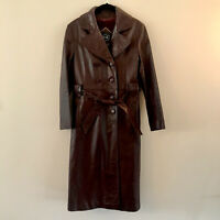 Women's B&R Finest Genuine Leather Trench Coat NY/PARIS Long Red Jacket EUC