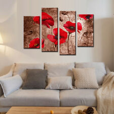 Framed Floral Canvas Print Red Poppies Brown Home Decor Wall Art Painting 4 Pcs