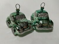 Lot TWO Green Volkswagen VW Bug Beetle VTG Plastic Christmas Ornaments 2-1/2""