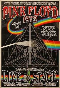 PINK FLOYD 1972 live in New York Concert Wall Art POSTER PRINT A4 A2 Rock Music